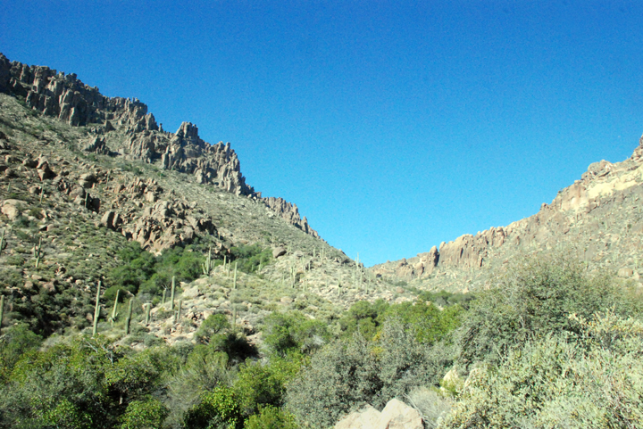 Hills support rock formations along with trees, shrubs, and other desert foliage while also contrasting with the shades of blue in the sky.